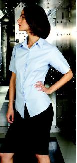 Ladies Oxford Short Sleeved Blouse